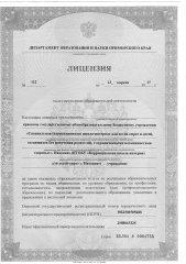 Лицензия на осуществление образовательной деятельности (лист 1)